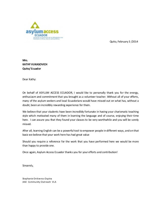 Asylum Access Thank You Letter Pdf