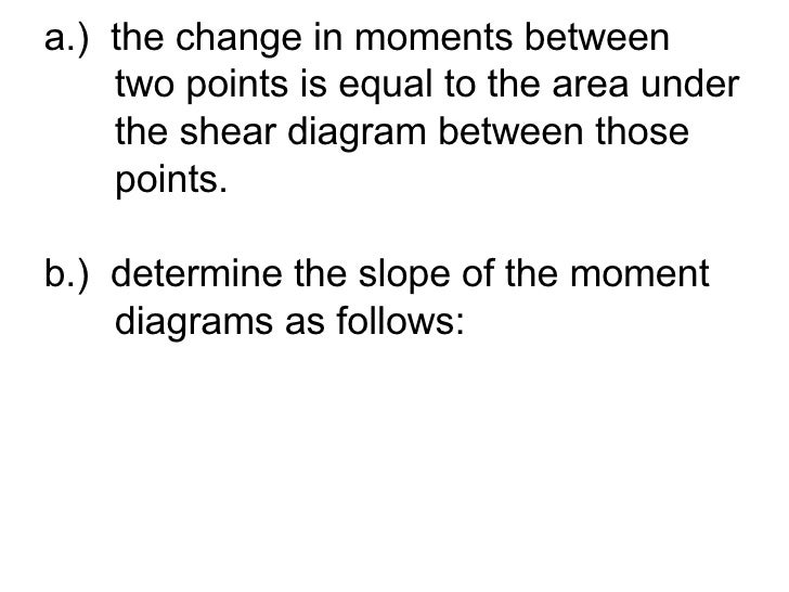 <ul><li>a.)  the change in moments between  </li></ul><ul><li>  two points is equal to the area under </li></ul><ul><li>  ...