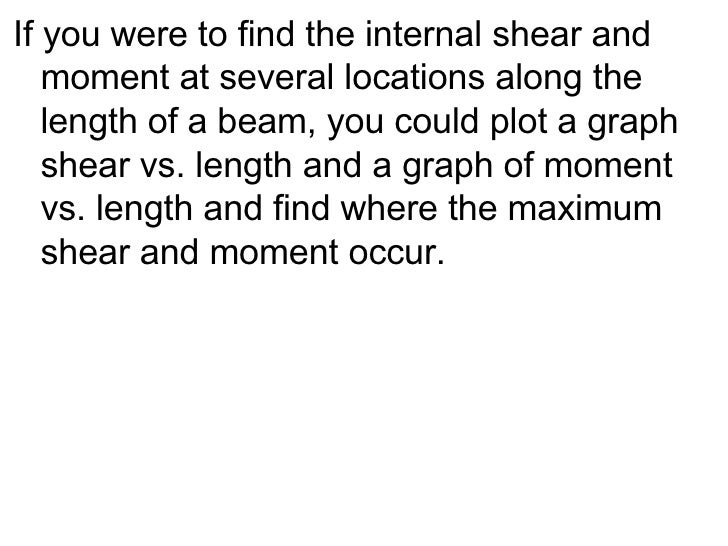 <ul><li>If you were to find the internal shear and moment at several locations along the length of a beam, you could plot ...