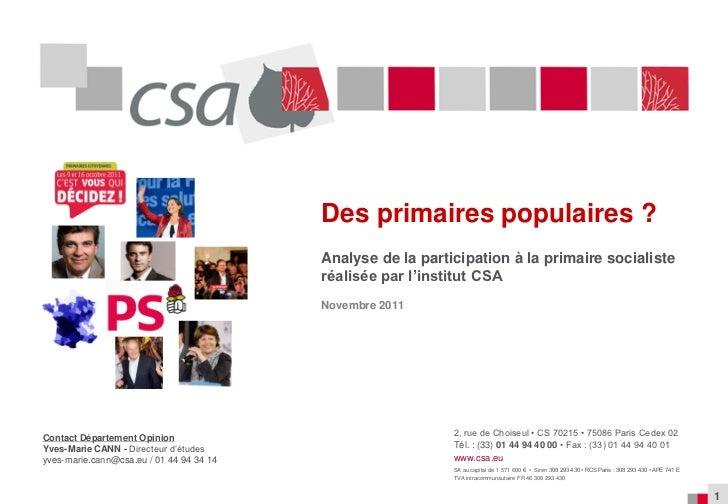 Des primaires populaires ?                                          Analyse de la participation à la primaire socialiste  ...