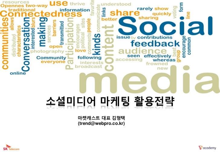 소셜미디어 마케팅 활용전략   마켓캐스트 대표 김형택   (trend@webpro.co.kr)