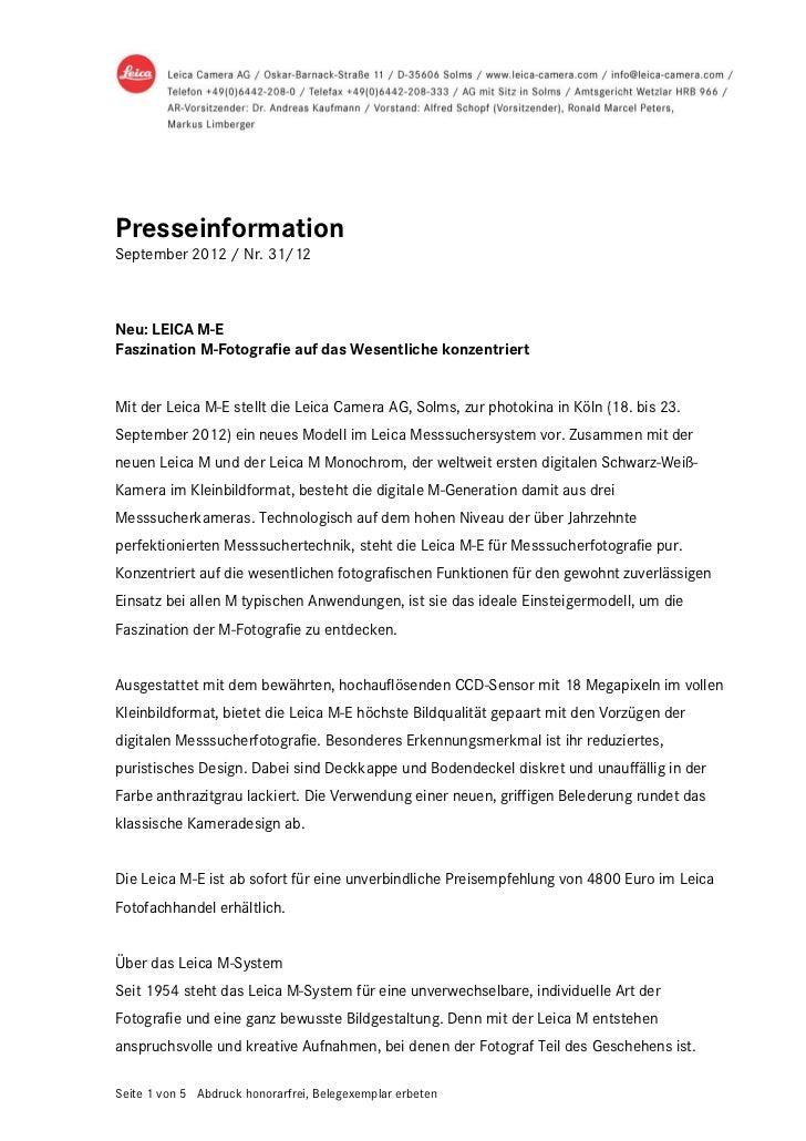 PresseinformationSeptember 2012 / Nr. 31/12Neu: LEICA M-EFaszination M-Fotografie auf das Wesentliche konzentriertMit der ...