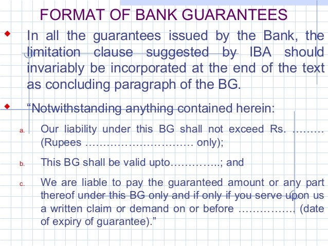 bank guarantee format for customs india