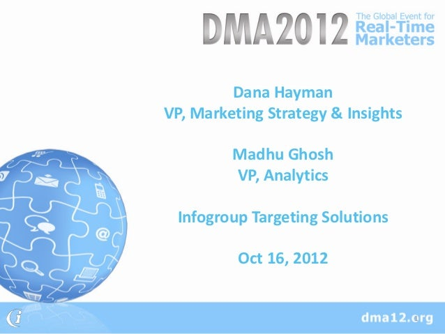 Dana HaymanVP, Marketing Strategy & Insights         Madhu Ghosh         VP, Analytics Infogroup Targeting Solutions      ...