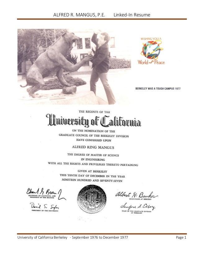 alfred mangus resume for university of california berkeley
