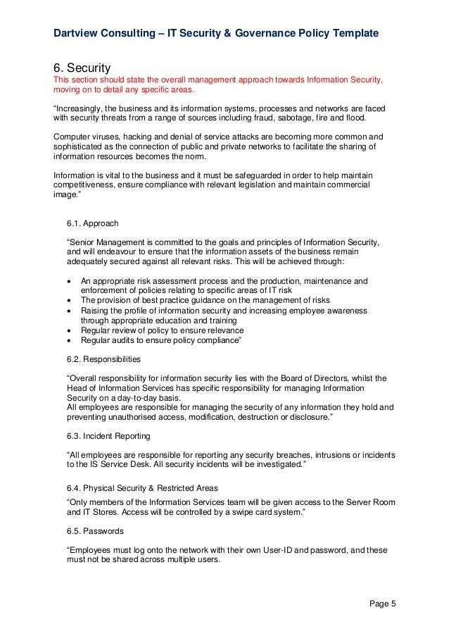 it security governance template - Information Security Resume