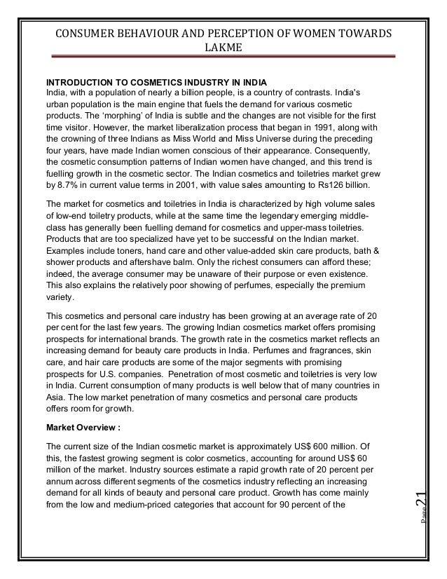 CONSUMER BEHAVIOUR AND PERCEPTION OF WOMEN TOWARDS LAKME Page21 INTRODUCTION TO COSMETICS INDUSTRY IN INDIA India, with a ...