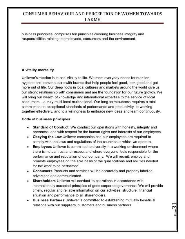 CONSUMER BEHAVIOUR AND PERCEPTION OF WOMEN TOWARDS LAKME Page31 business principles, comprises ten principles covering bus...