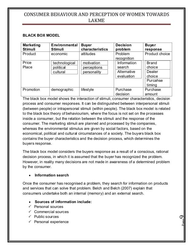 CONSUMER BEHAVIOUR AND PERCEPTION OF WOMEN TOWARDS LAKME Page9 BLACK BOX MODEL The black box model shows the interaction o...