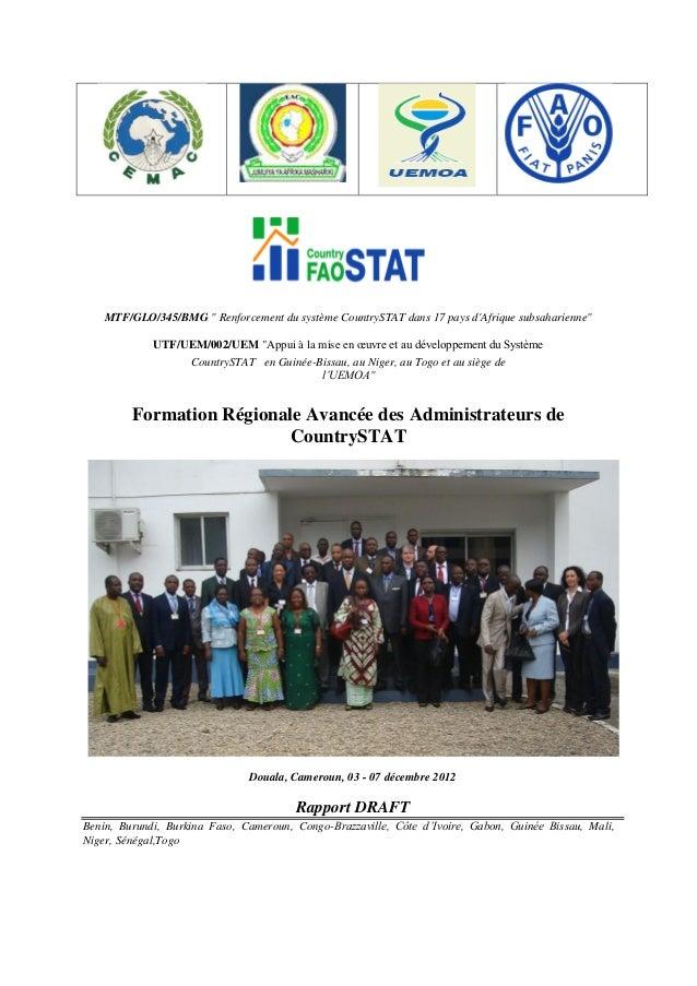 """MTF/GLO/345/BMG """" Renforcement du système CountrySTAT dans 17 pays d'Afrique subsaharienne"""" UTF/UEM/002/UEM """"Appui à la mi..."""