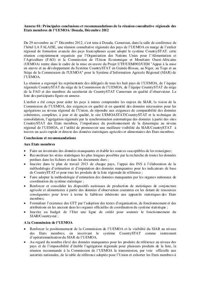 Annexe 01: Principales conclusions et recommandations de la réunion consultative régionale des Etats membres de l'UEMOA/ D...