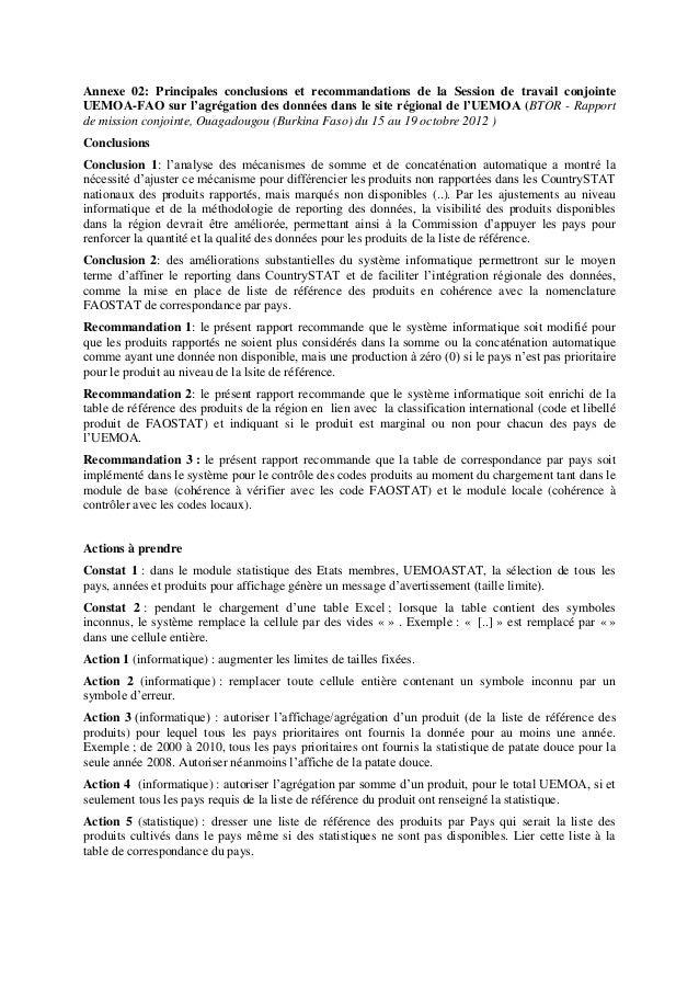 Annexe 02: Principales conclusions et recommandations de la Session de travail conjointe UEMOA-FAO sur l'agrégation des do...