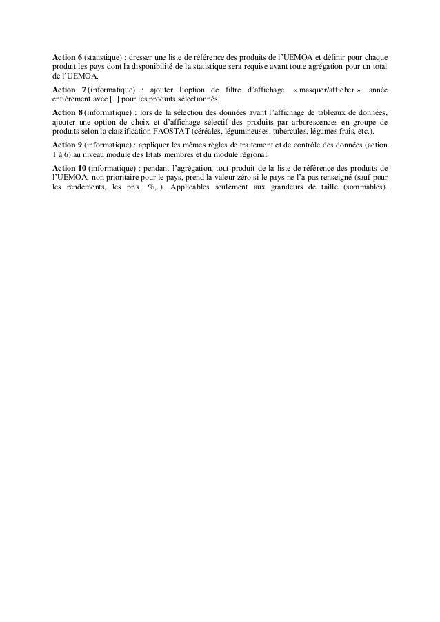 Action 6 (statistique) : dresser une liste de référence des produits de l'UEMOA et définir pour chaque produit les pays do...