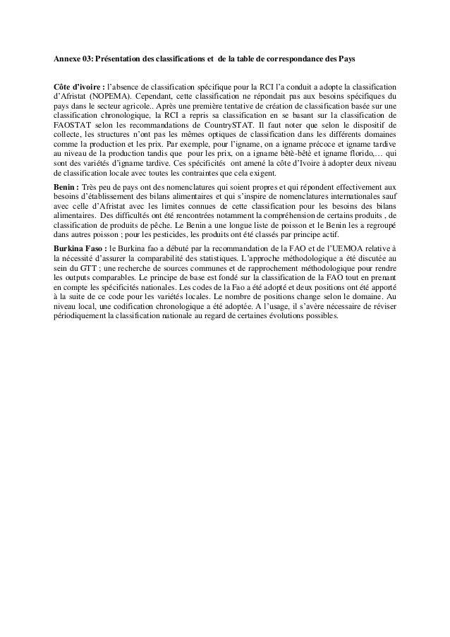 Annexe 03: Présentation des classifications et de la table de correspondance des Pays Côte d'ivoire : l'absence de classif...