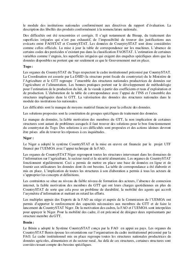 le module des institutions nationales conformément aux directives du rapport d'évaluation. La description des libellés des...