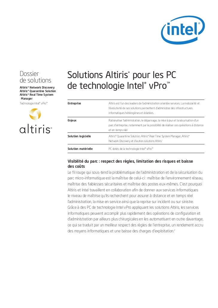 Dossierde solutions                               Solutions Altiris* pour les PCAltiris* Network DiscoveryAltiris* Quarant...