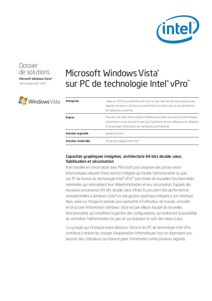 Dossierde solutions               Microsoft Windows Vista*                           sur PC de technologie Intel® vPro™Mic...
