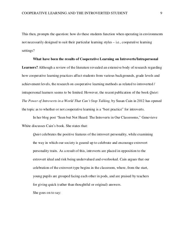 literature review on cooperative learning