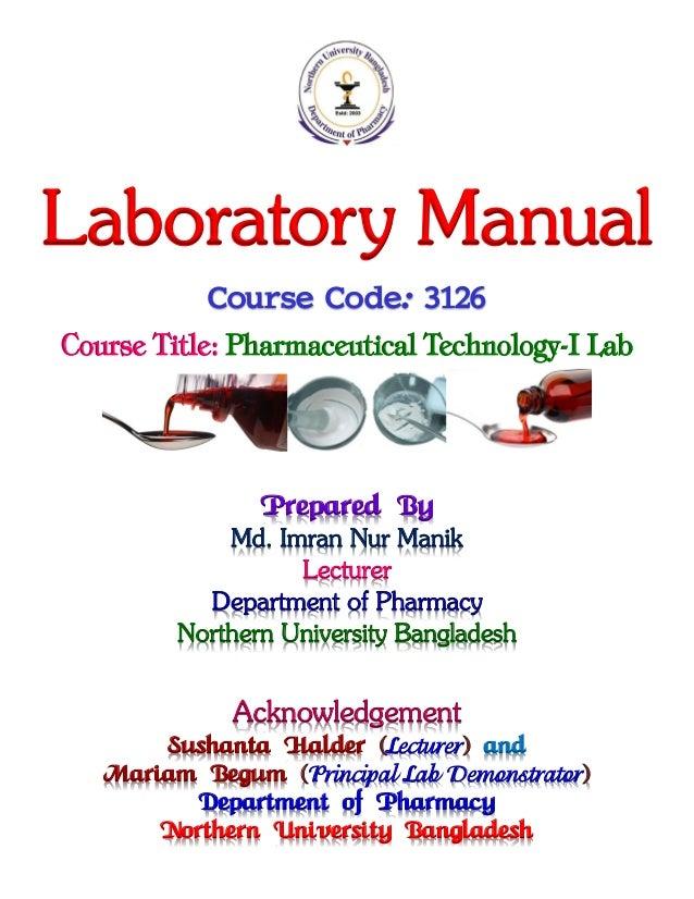 pharmaceutical technology i lab manik rh slideshare net Narcotic Drug Prod Pharma Labs Pharmaceutical Manufacturing