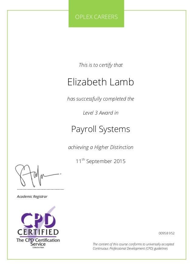 Elizabeth Lamb - Oplex Careers Certificate