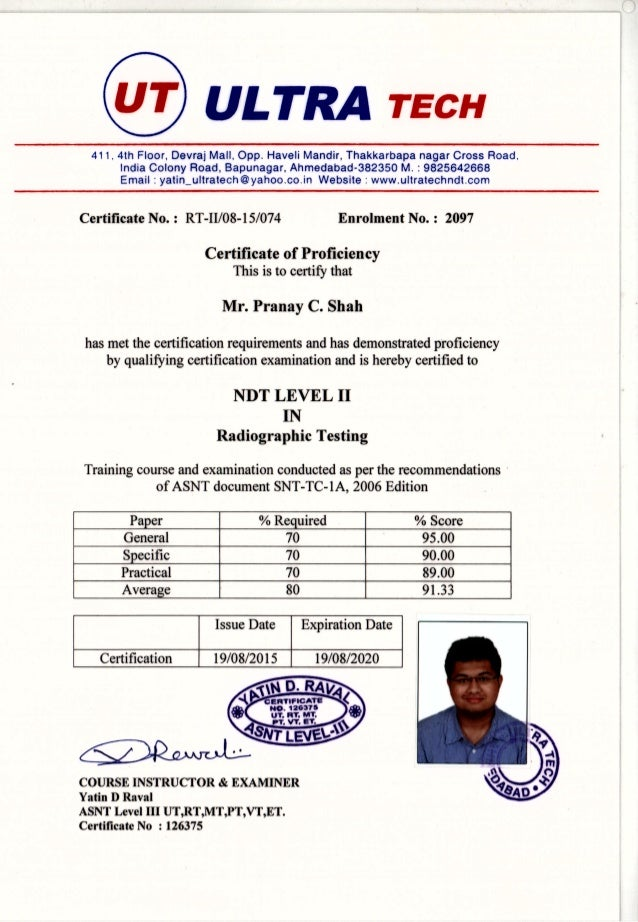 Asnt Level Ii In Radiographic Testing