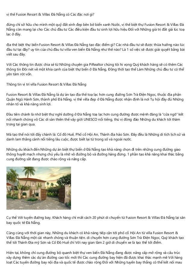 vị thế Fusion Resort & Villas Đà Nẵng có Các đặc nơi gì? đừng chỉ sở hữu cho mình một quỹ đất xinh đẹp bên bờ biển xanh Nư...