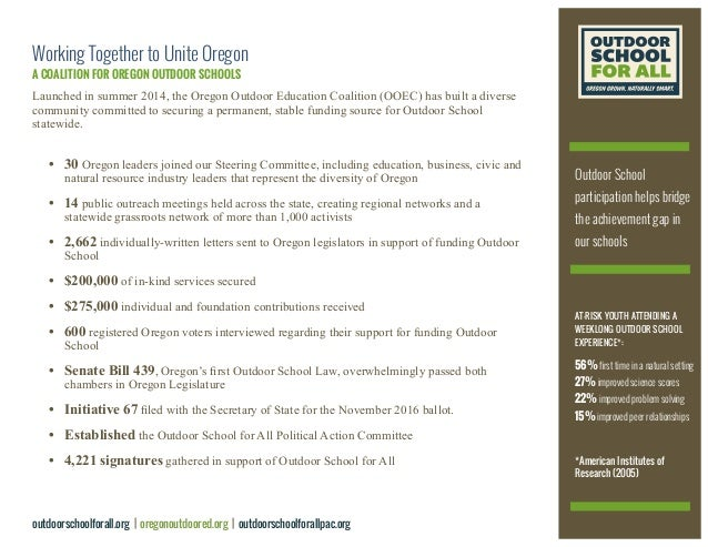 Working Together to Unite Oregon A COALITION FOR OREGON OUTDOOR SCHOOLS Launched in summer 2014, the Oregon Outdoor Educat...