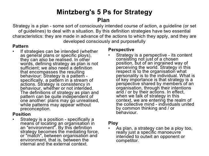mintzbergs 5 ps Harper & row henry mintzberg (1979) the structuring of organizations: a  synthesis of the research prentice-hall mintzberg, h (1983.
