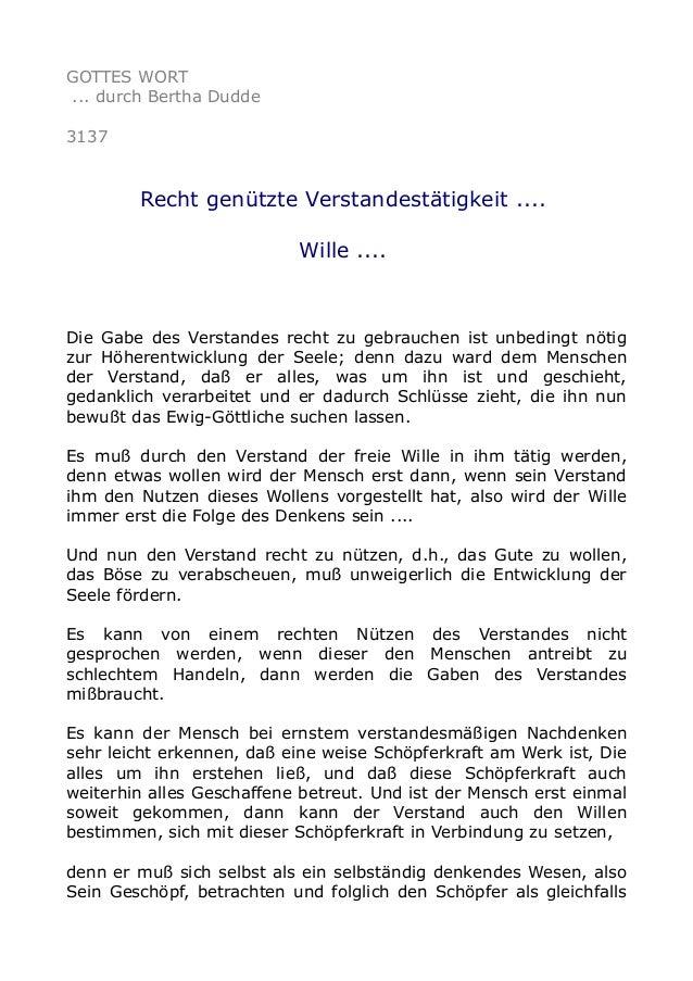 GOTTES WORT ... durch Bertha Dudde 3137 Recht genützte Verstandestätigkeit .... Wille .... Die Gabe des Verstandes recht z...