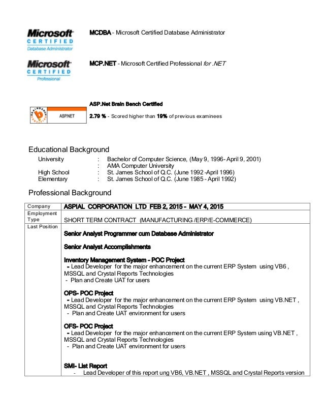 Mcp resume sample cover letter human resources