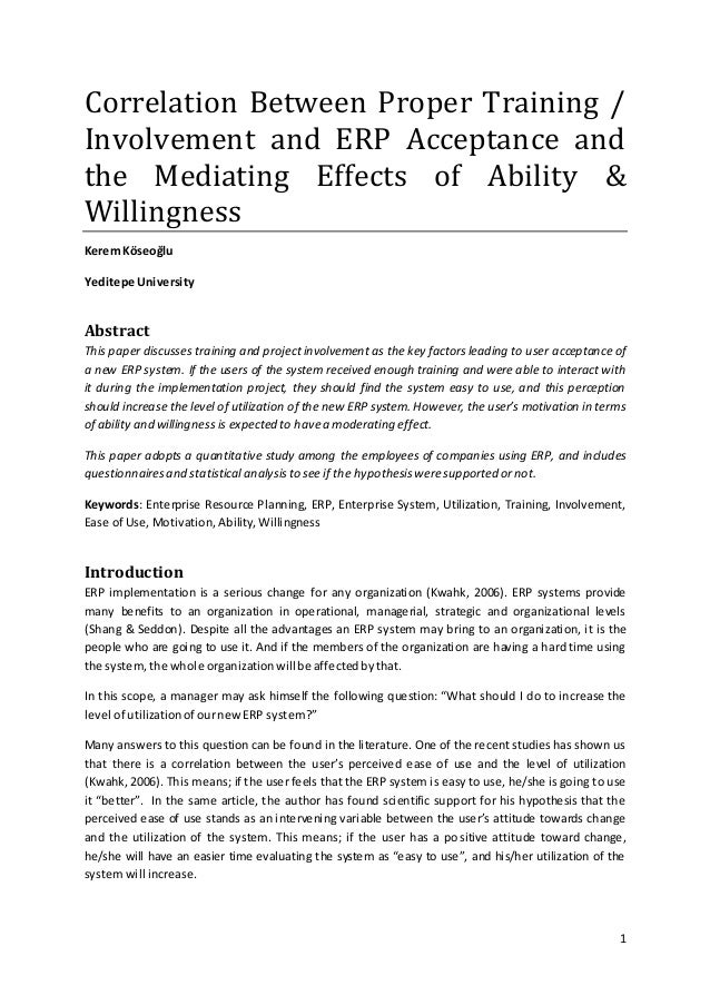 1 Correlation Between Proper Training / Involvement and ERP Acceptance and the Mediating Effects of Ability & Willingness ...