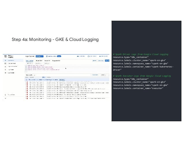 """Step 4a: Monitoring - GKE & Cloud Logging # Spark Driver Logs from Google Cloud Logging resource.type=""""k8s_container"""" reso..."""