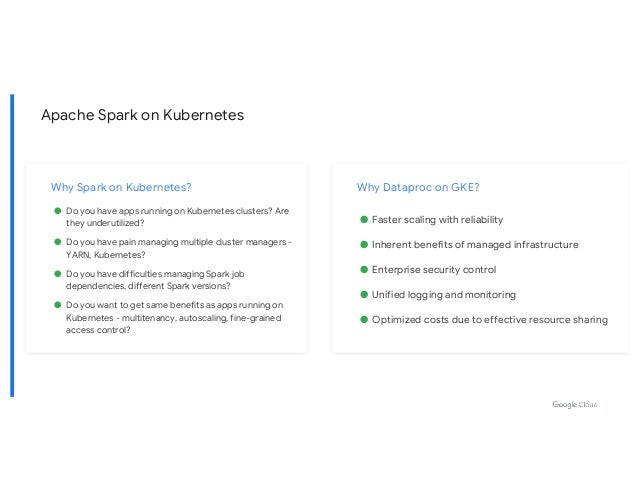 Apache Spark on Kubernetes Why Spark on Kubernetes? ● Do you have apps running on Kubernetes clusters? Are they underutili...