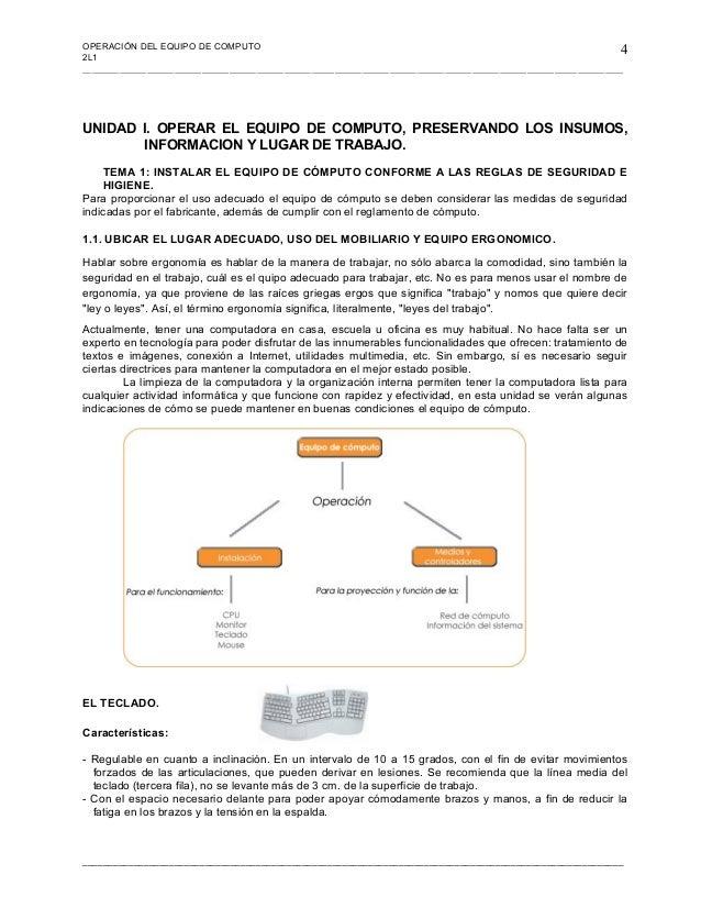 Operacion de equipos de computo for Mobiliario y equipo ergonomico