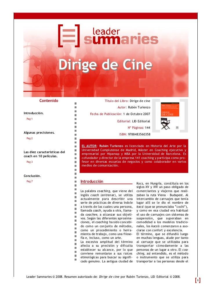 Dirige de Cine          Contenido                                  Título del Libro: Dirige de cine                       ...