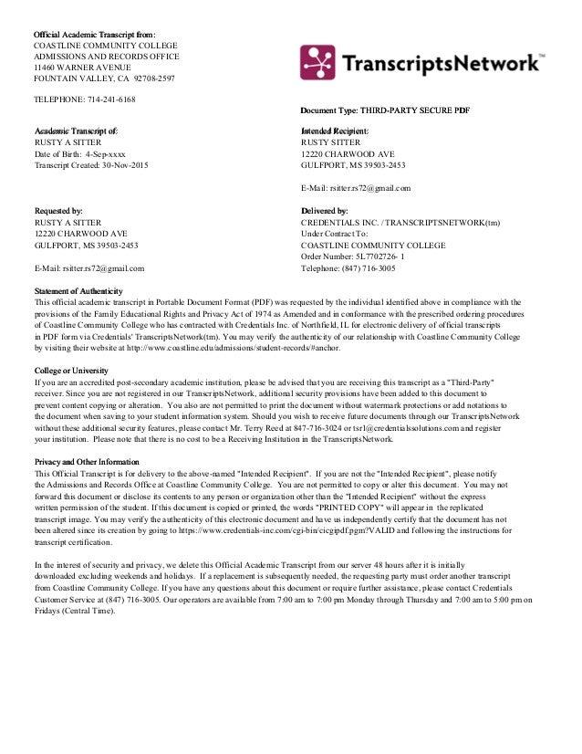 coastline community college transcripts Coastline Community College AA Degree Awarded May 2010