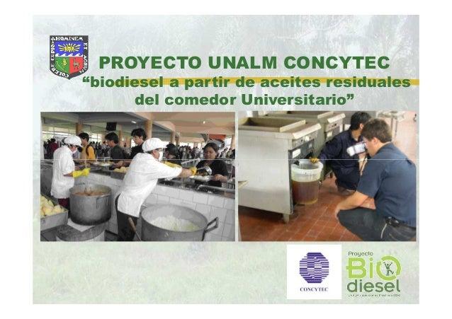 315 jos calle biodiesel de aceites residuales for Proyecto comedor universitario