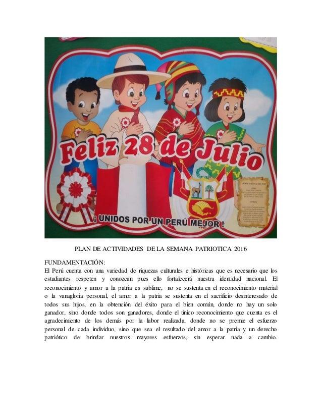 SUGERENTE-Plan de Actividades de la Semana Patriótica 2016.