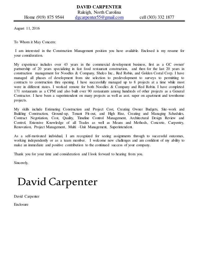 Apprentice Carpenter Cover Letter Sample