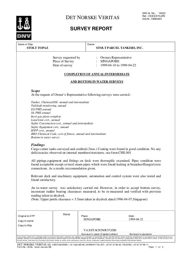 00ab8099643 DNV Survey Report_STOLT TOPAZ_Annual&Intermediate Survey