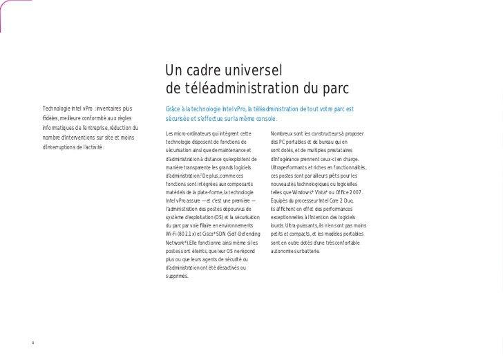 Un cadre universel                                                  de téléadministration du parc    Technologie Intel vPr...