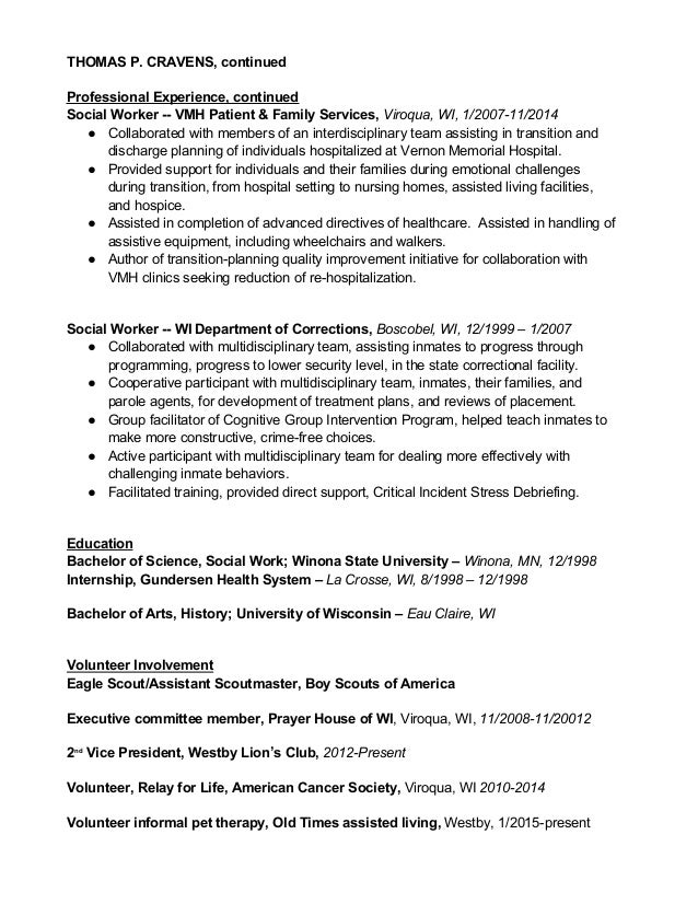 Tom Cravens Doc Social Worker Resume