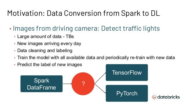 Spark DataFrame Motivation: Data Conversion from Spark to DL TensorFlow PyTorch ? • Images from driving camera: Detect tra...