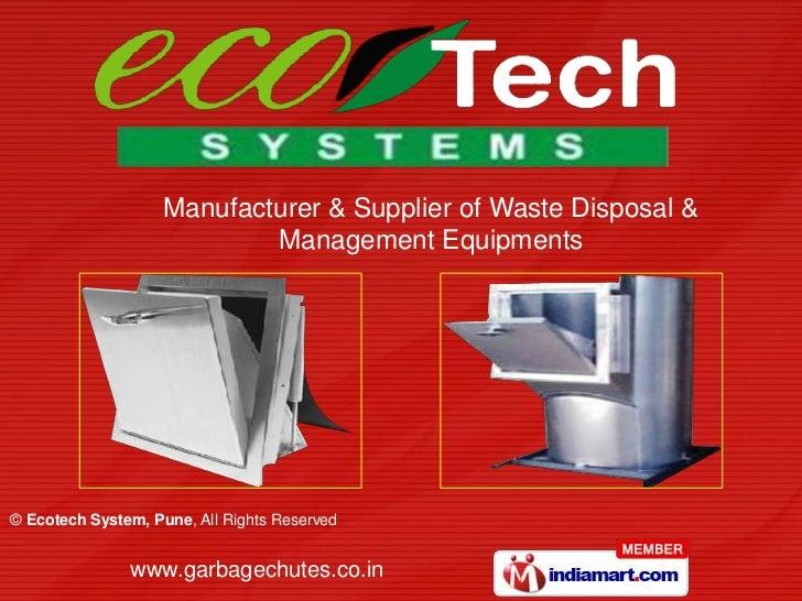 Manufacturer & Supplier of Waste Disposal & <br />Management Equipments<br />