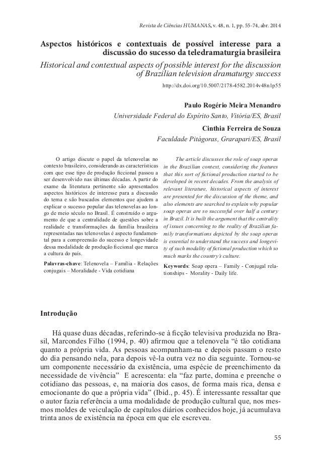 55 Revista de Ciências HUMANAS, v. 48, n. 1, pp. 55-74, abr. 2014 Aspectos históricos e contextuais de possível interesse ...