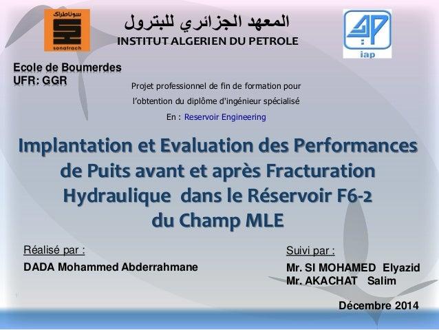 DADA Mohammed Abderrahmane Décembre 2014 Implantation et Evaluation des Performances de Puits avant et après Fracturation ...