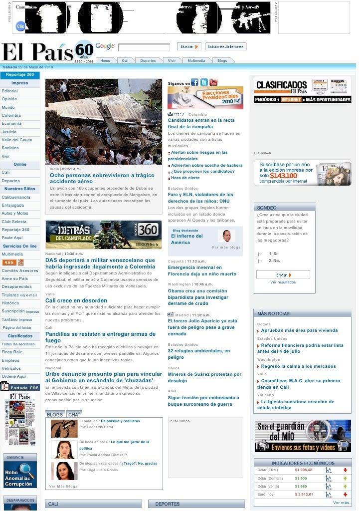 Home         Cali     Deportes    Vivir     Multimedia       Blogs Sábado 22 de Mayo de 2010    Reportaje 360    ...