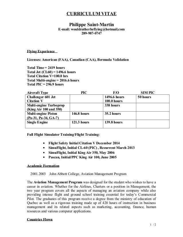 Cl Registration Template | Resume Philippe Saint Martin February 2015st