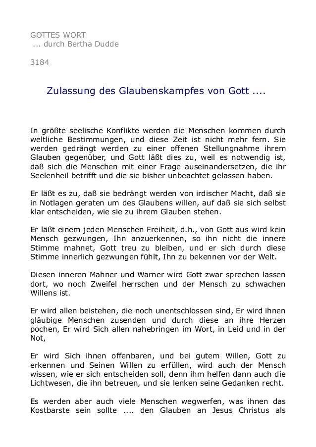 GOTTES WORT ... durch Bertha Dudde 3184 Zulassung des Glaubenskampfes von Gott .... In größte seelische Konflikte werden d...