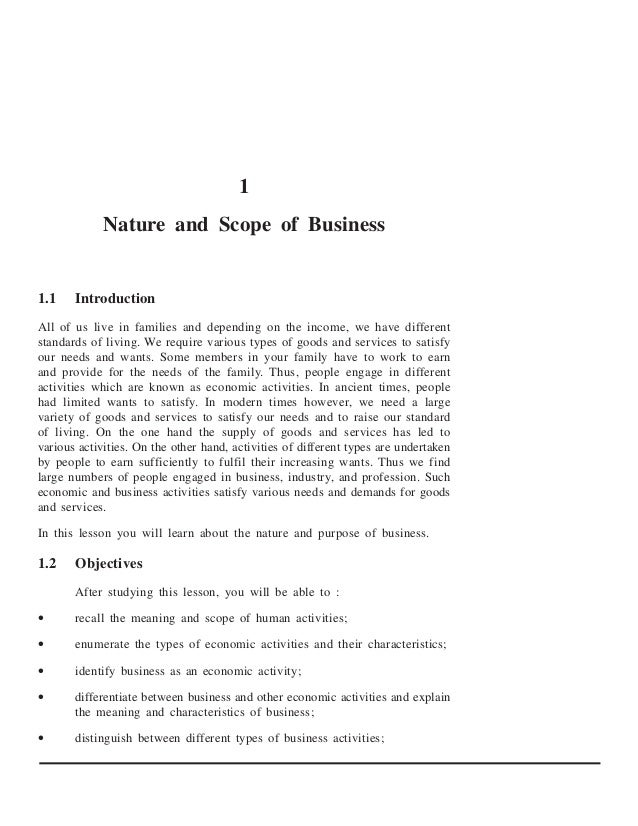 1             Nature and Scope of Business1.1    IntroductionAll of us live in families and depending on the income, we ha...